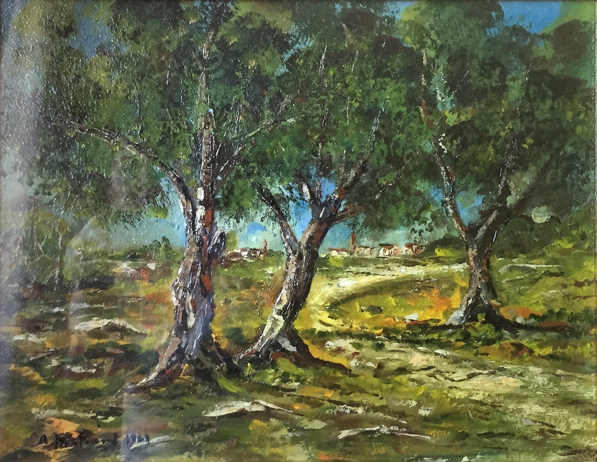 Quadro Boschetto Olio su masonite - Amleto Bertrand
